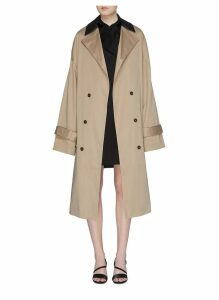 Detachable contrast trench panel oversized coat