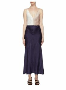 'Bridget' open back colourblock linen-silk satin slip dress