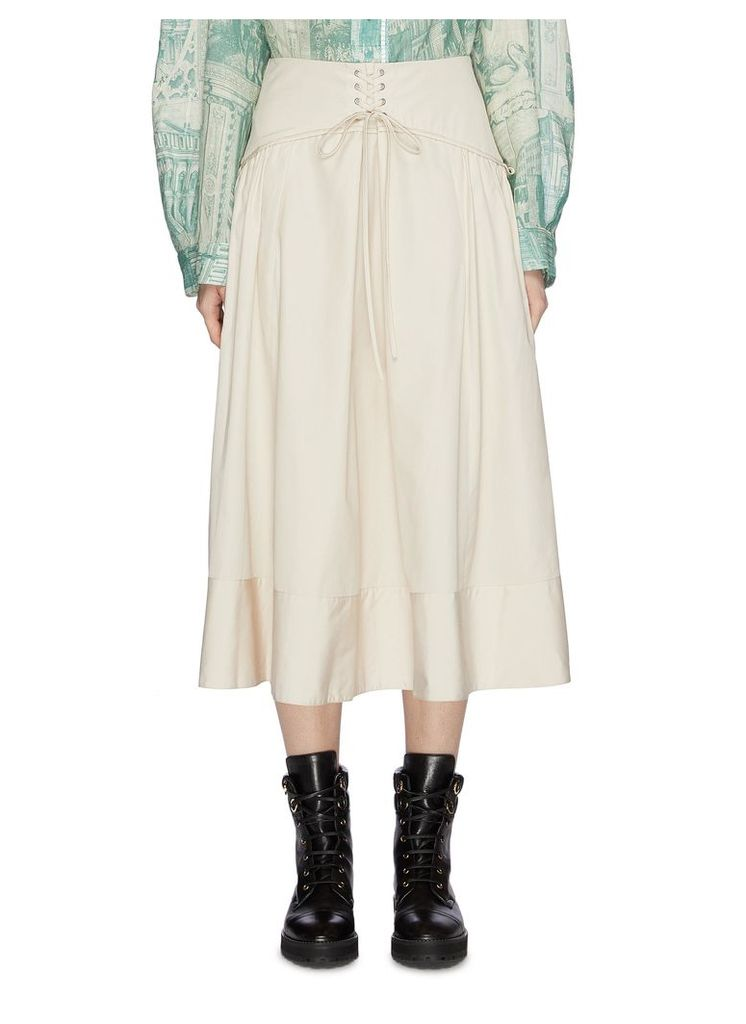 Lace-up corset waist flared poplin skirt