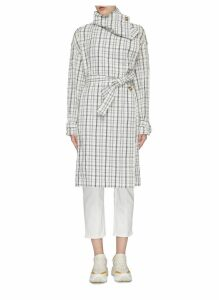 Drape collar belted tartan plaid trench coat