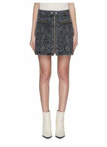 Snake print zip front denim skirt
