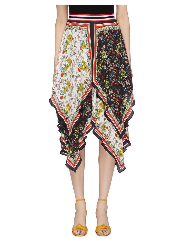 'Maura' colourblock floral print tiered handkerchief skirt