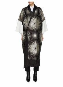 Metallic sunray jacquard silk blend kimono
