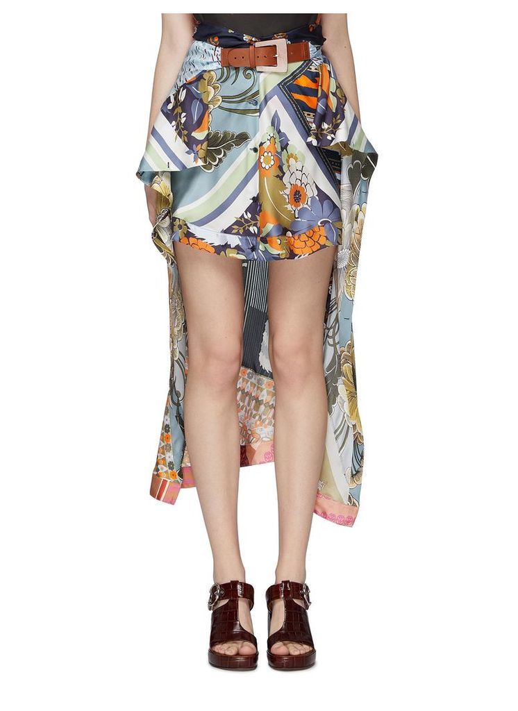 Buckled caravan print scarf patchwork silk high-low skirt