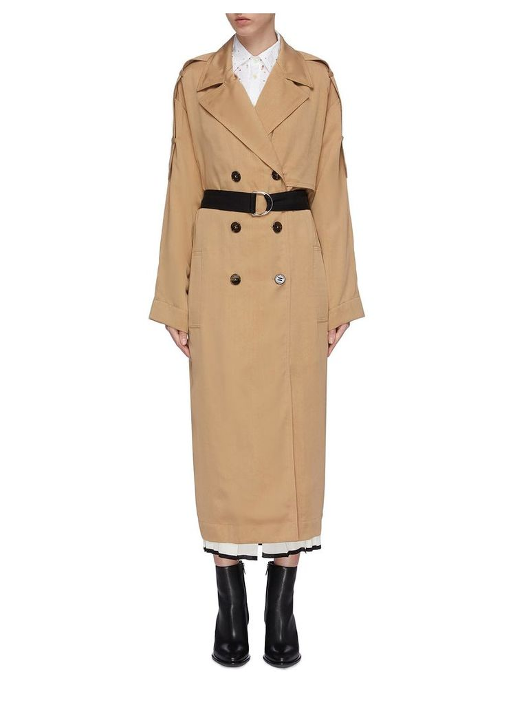 D-ring belted water repellent twill trench coat