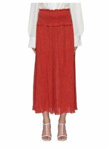 'Veneto' smocked crinkled midi skirt