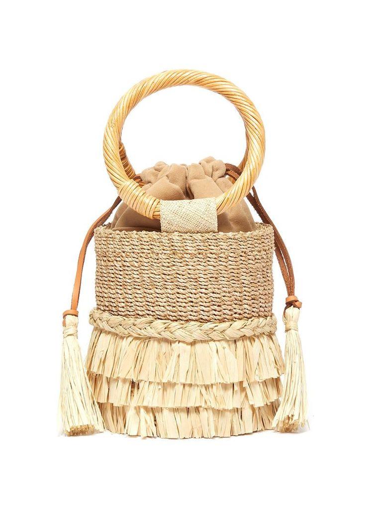 'Nona' raffia fringe straw bucket bag