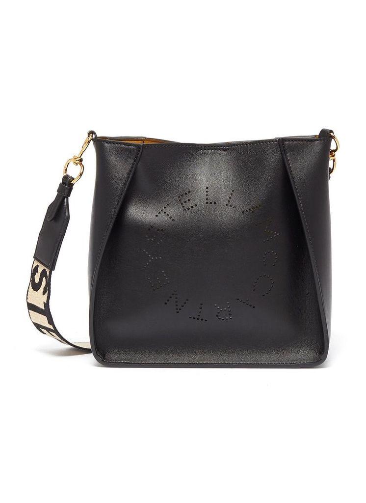 Logo strap mini faux leather crossbody bag