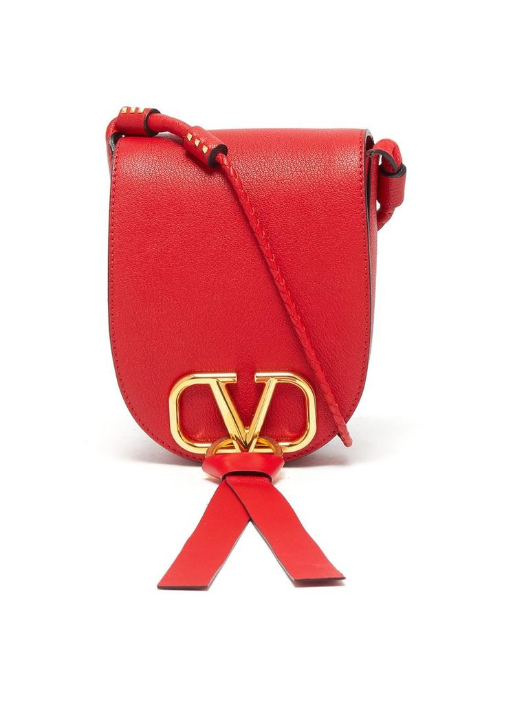 'VRing' tassel small leather saddle bag