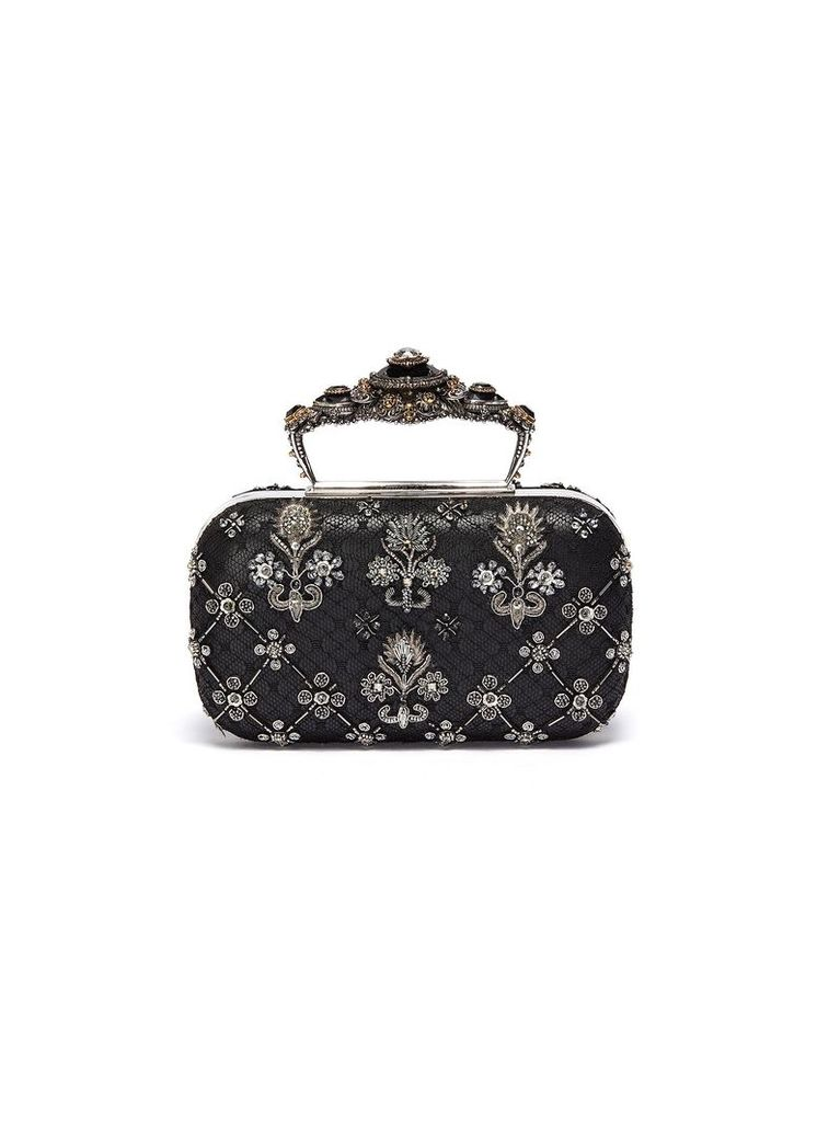 Baroque embellished lace overlay leather clutch