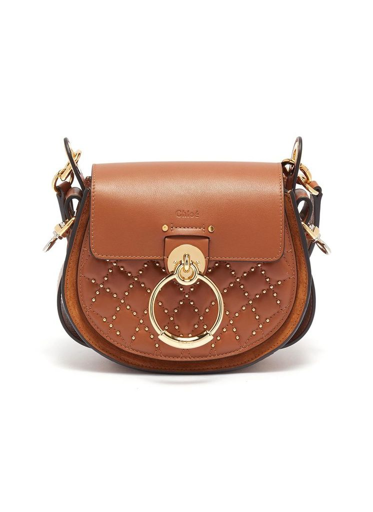'Tess' ring stud quilted small leather saddle bag