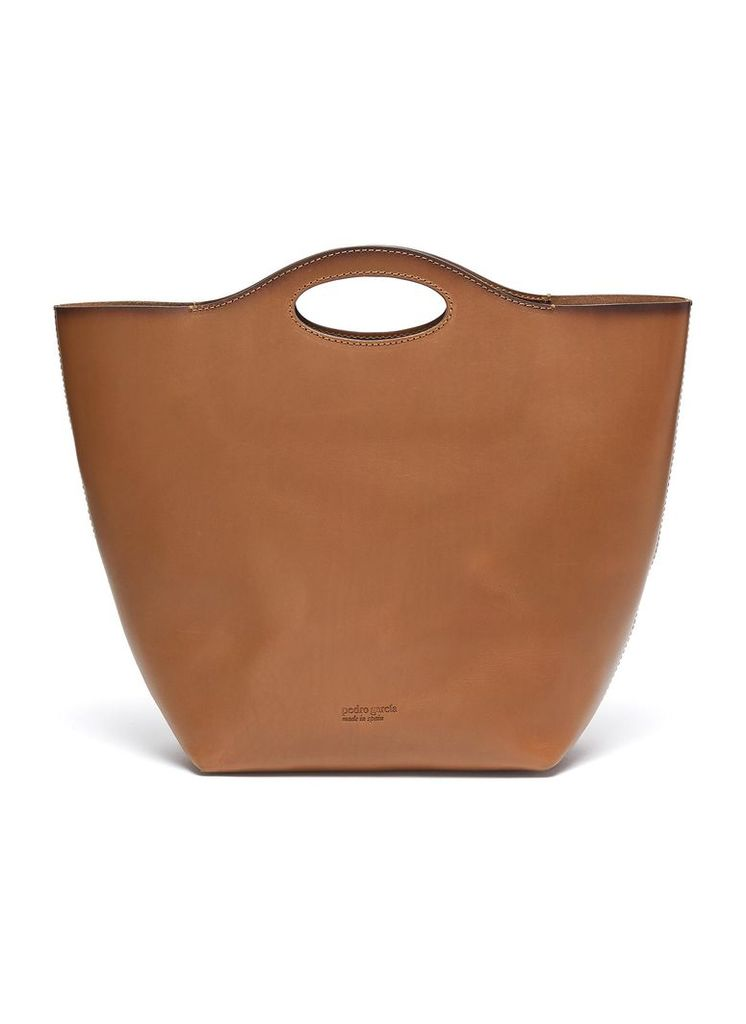 Cutout handle leather tote