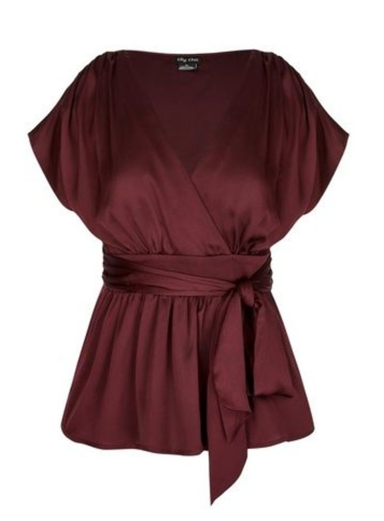 **City Chic Berry Wrap Top, Brown