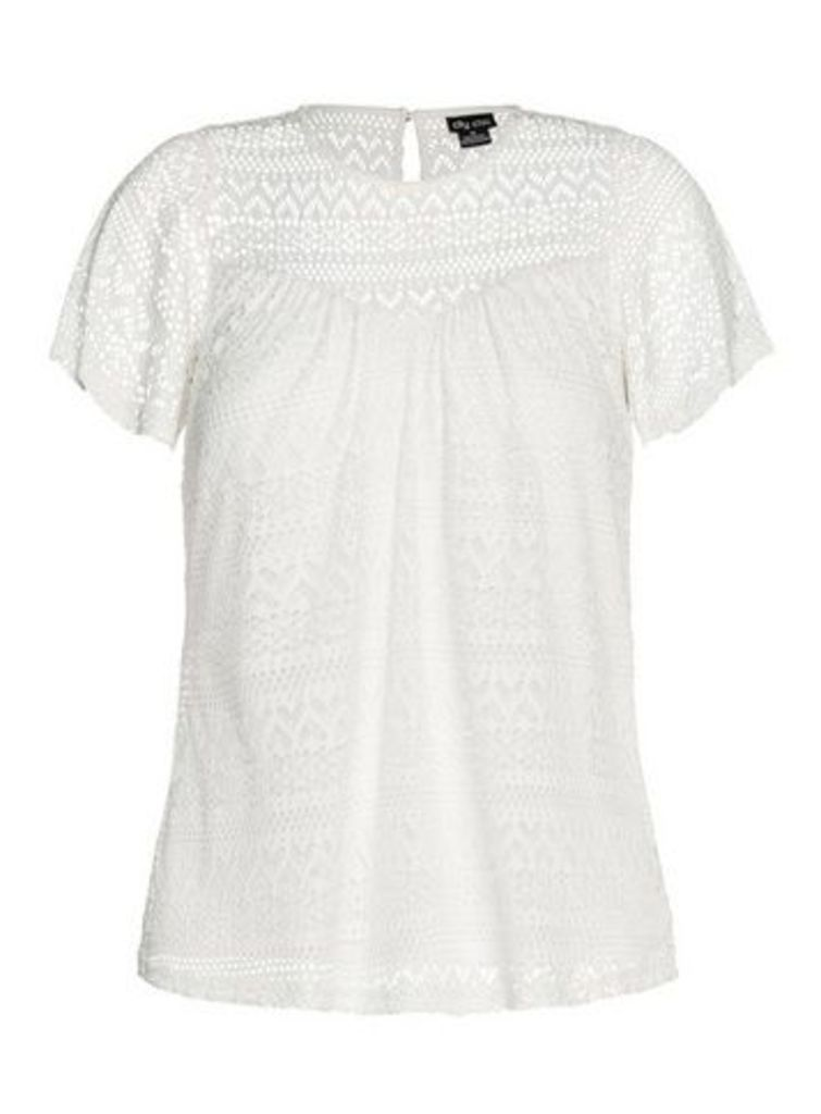 **City Chic White Lace Top, Ivory