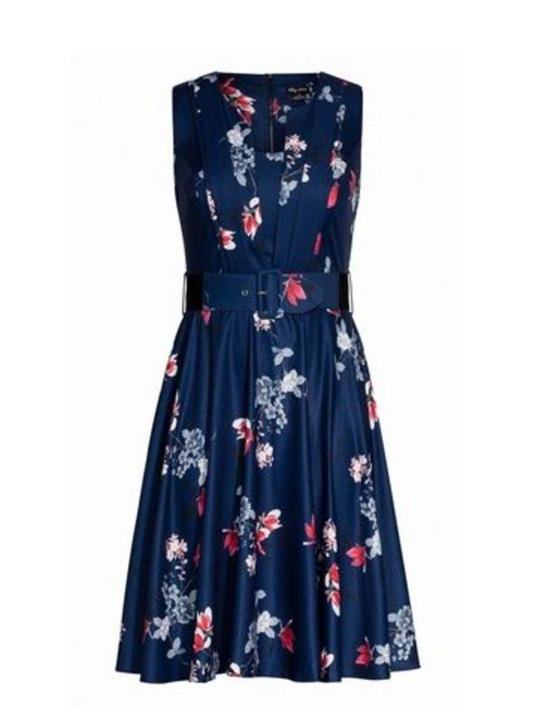 **City Chic Navy Blue Floral Print Dress, Navy