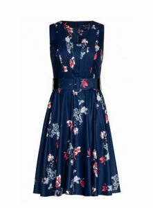 **City Chic Navy Blue Floral Print Dress, Navy