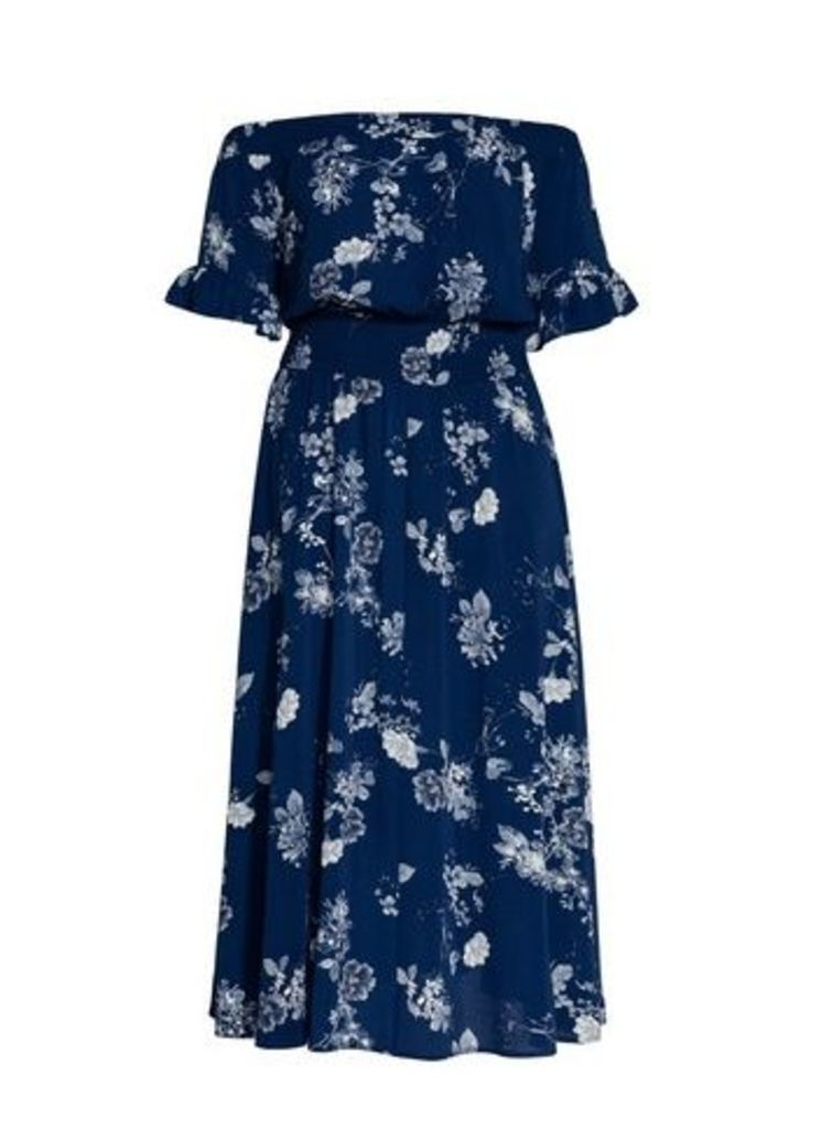 **City Chic Navy Blue Bardot Maxi Dress, Navy