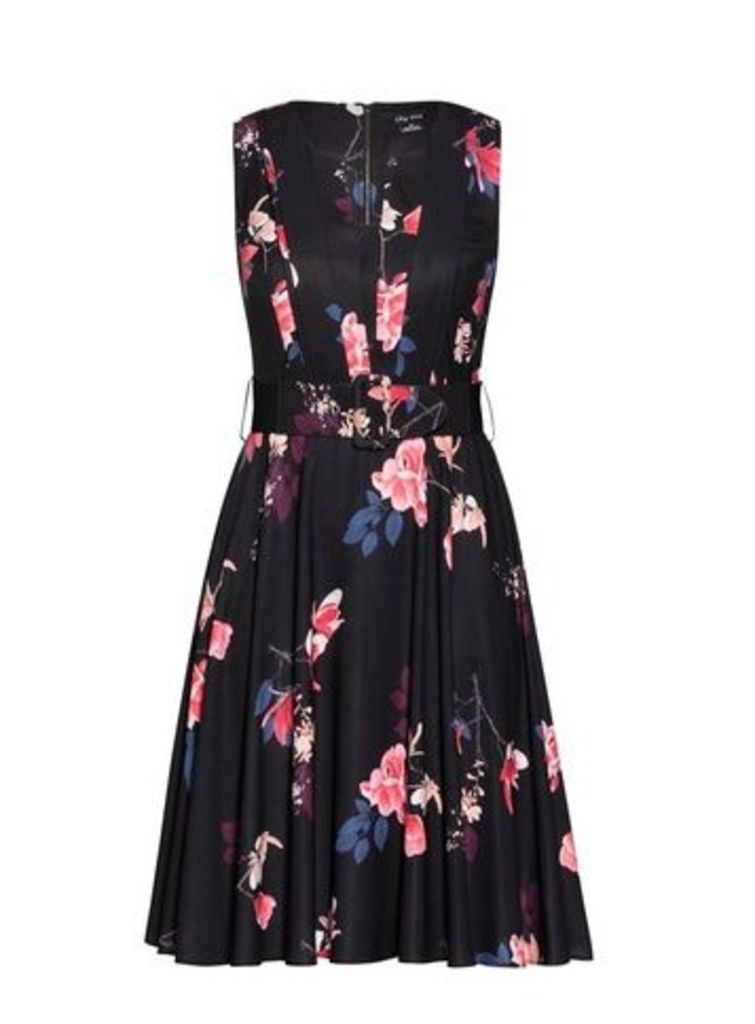 **City Chic Black Floral Print Dress, Black