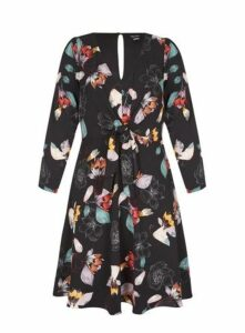 **City Chic Black Floral Sketch Dress, Black