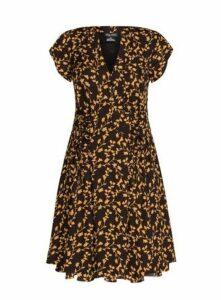 **City Chic Brown Leaf Printed Dress, Brown