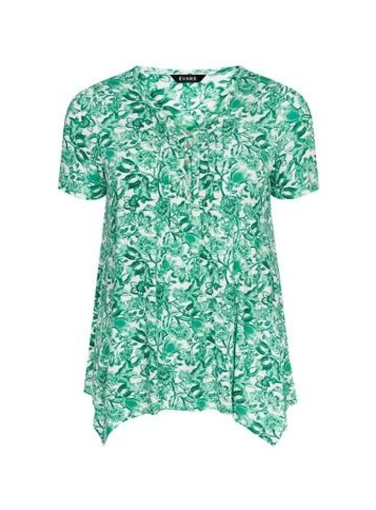 Green Floral Print Top, Green