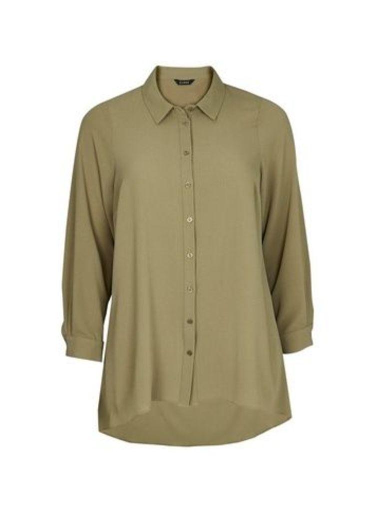Khaki Dipped Hem Shirt, Khaki