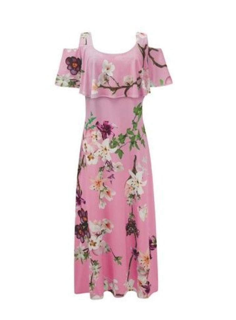 **Grace Pink Cold Shoulder Maxi Dress, Pink