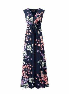 **Grace Navy Blue Twist Maxi Dress, Pink