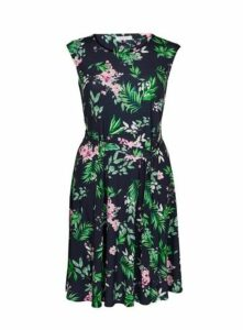 Navy Blue And Pink Floral Print Dress, Dark Multi