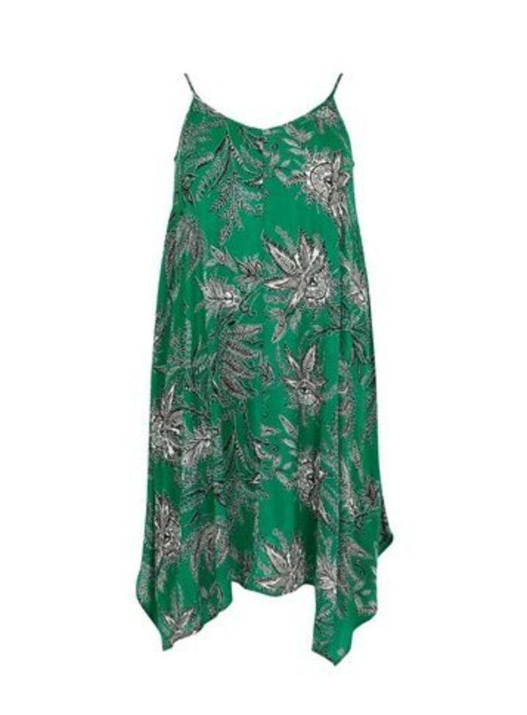 Green Paisley Print Hanky Hem Dress, Green