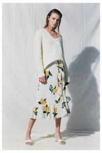 White Lemon Print Silk Wrap Skirt