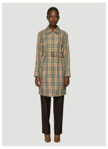 Burberry Vintage Check Nylon Belted Car Coat in Brown size UK - 10