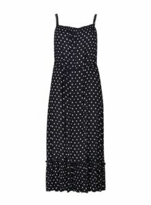 Navy Polka Dot Beach Dress, Navy