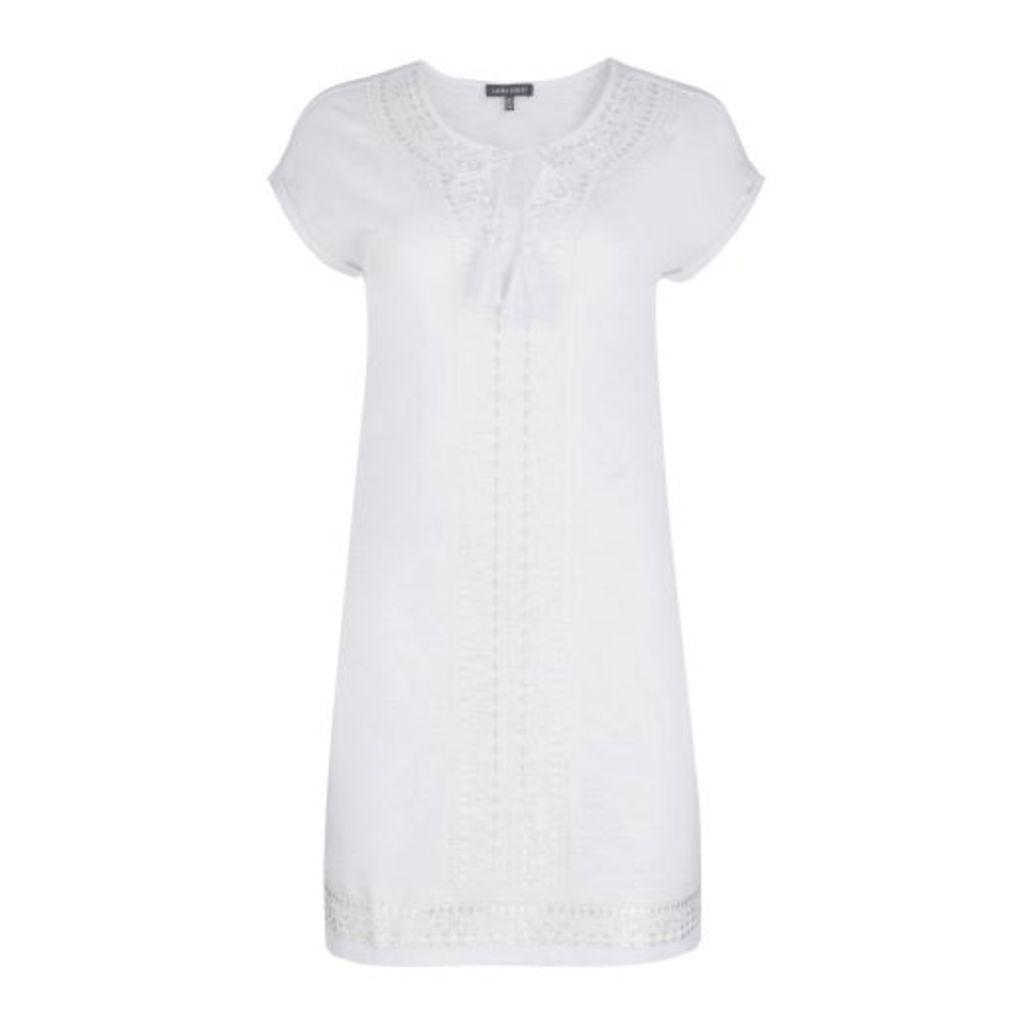 White Embroidered Jersey Slub Tunic Dress