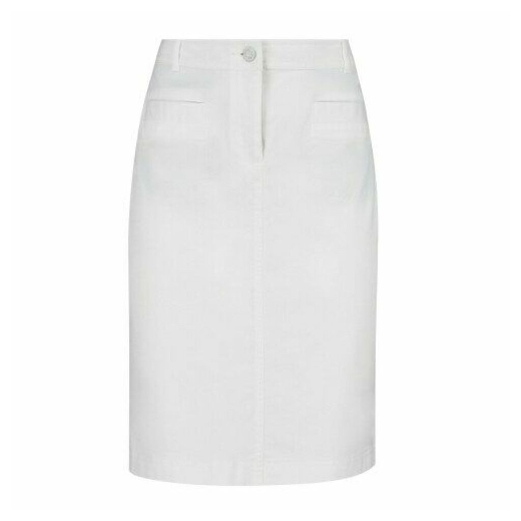 White Stretch Cotton Skirt