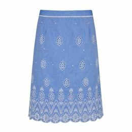 Blue Embroidery and Cutwork ALine Skirt