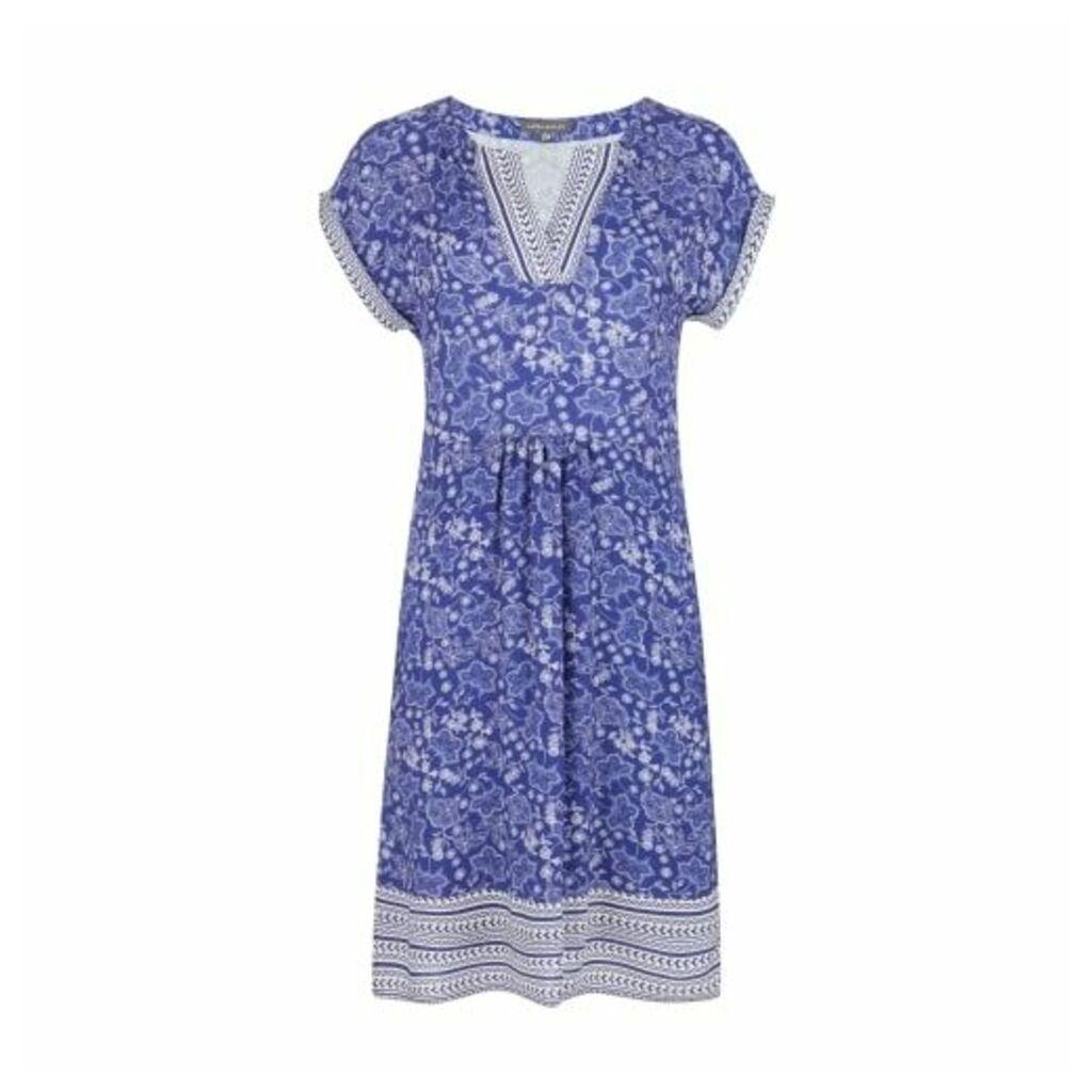 Blue Paisley and Geo Wave Tunic Dress