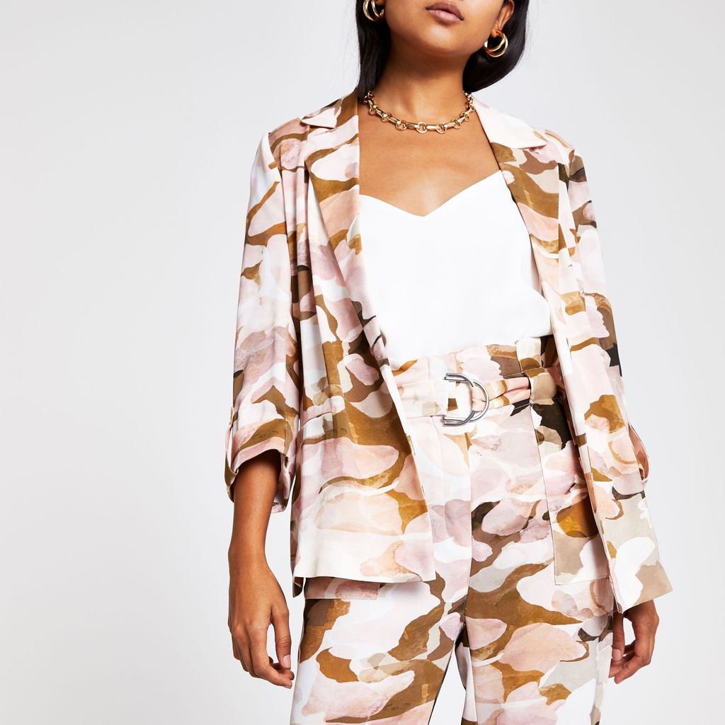 Womens Petite Pink camo blazer