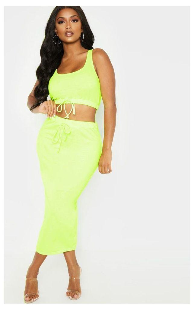 Shape Neon Lime Sweat Drawstring Midi Skirt, Neon Lime