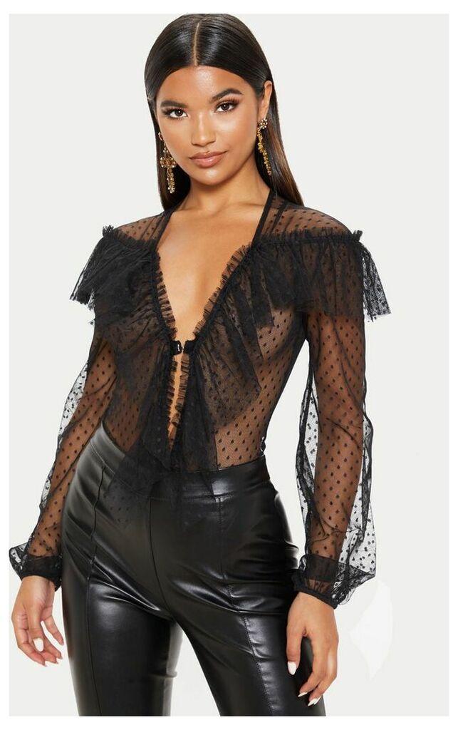 Black Ruffle Dobby Mesh Plunge Bodysuit, Black