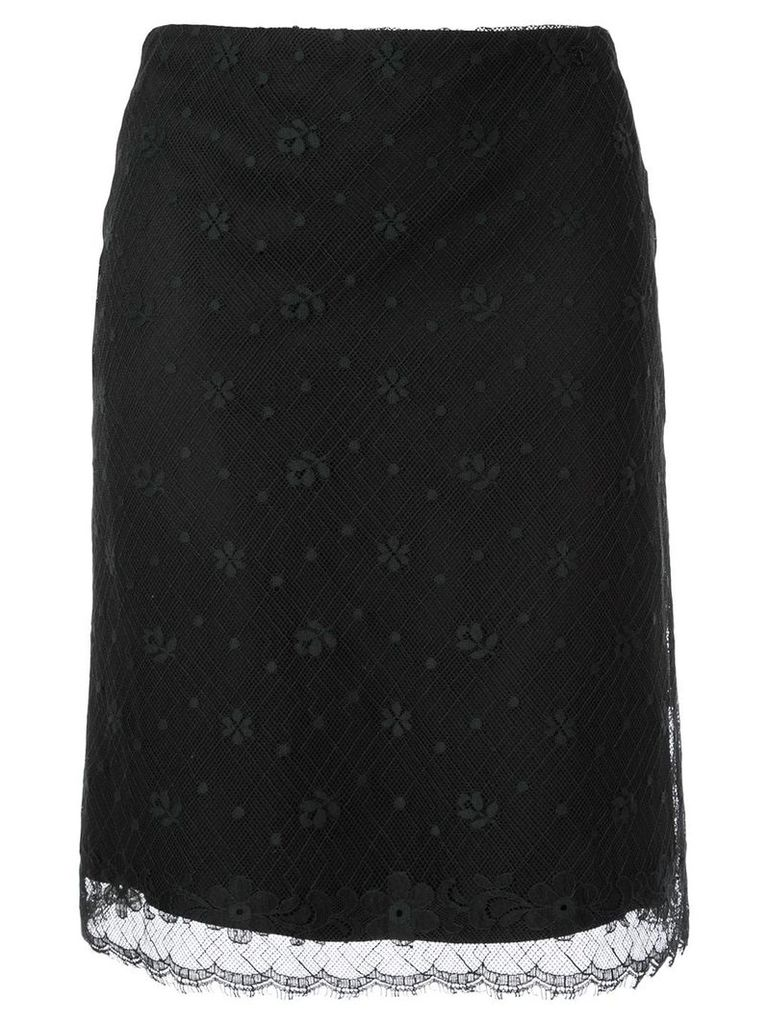 Chanel Pre-Owned CC logo lace skirt - Brown