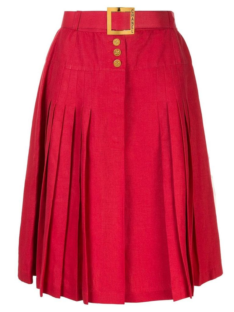 Chanel Vintage Belted button pleated skirt - Red