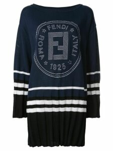 Fendi Pre-Owned logo print sweater dress - Blue