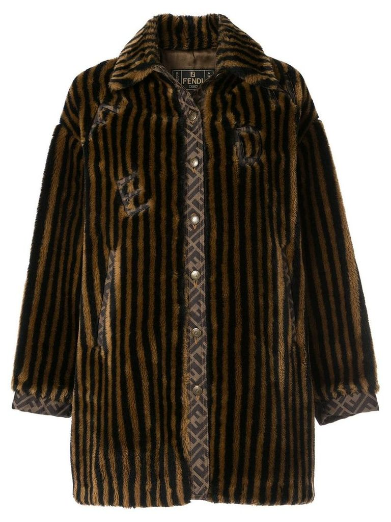 Fendi Vintage striped faux fur coat - Brown