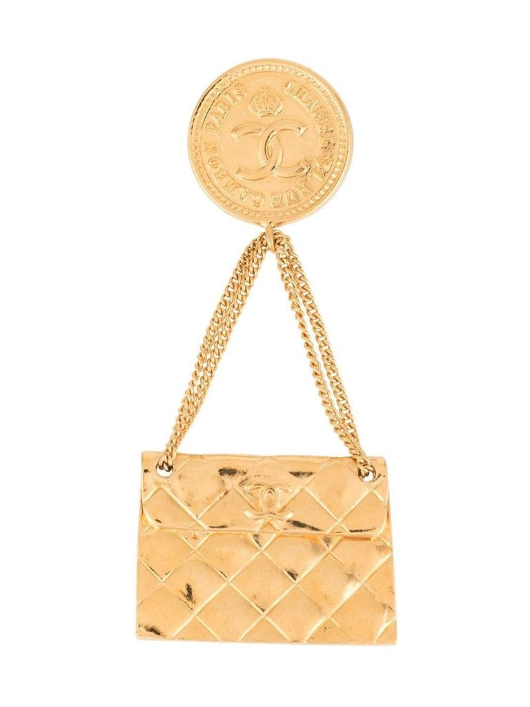 Chanel Vintage matelassé bag brooch - Gold
