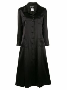 Chanel Pre-Owned pleated coat - Black