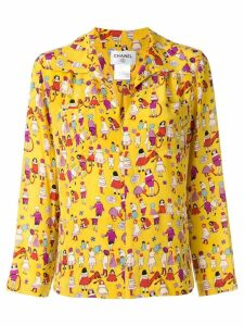 CHANEL PRE-OWNED printed zip-up shirt - Yellow