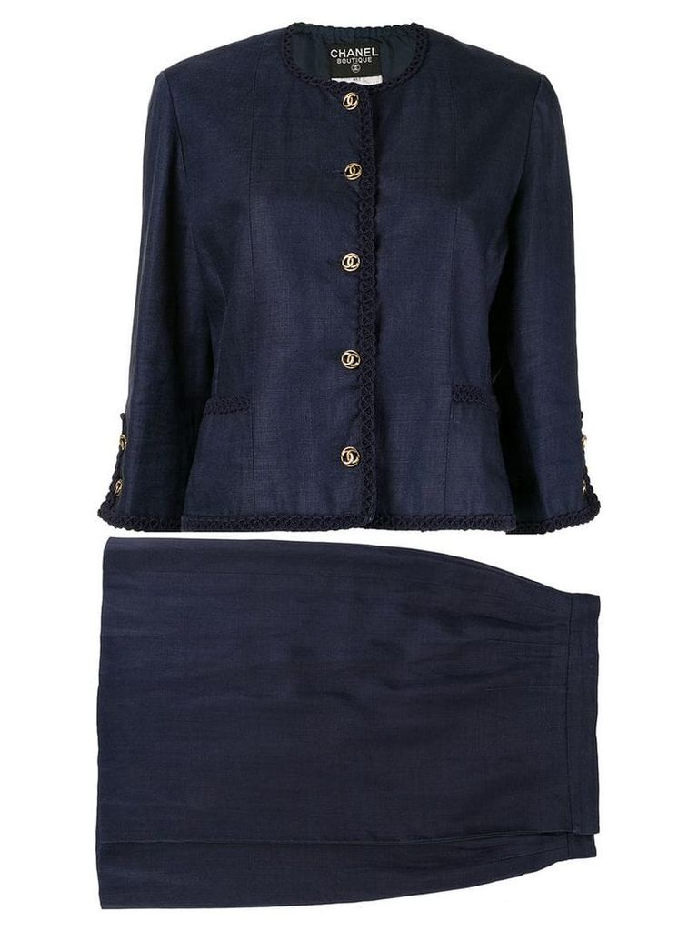 Chanel Vintage two-piece skirt suit - Blue
