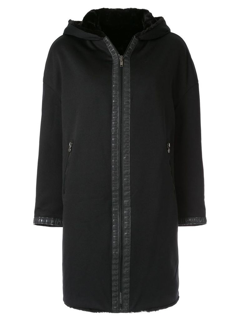 Fendi Vintage hooded zip-up coat - Black