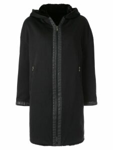 FENDI PRE-OWNED hooded zip-up coat - Black